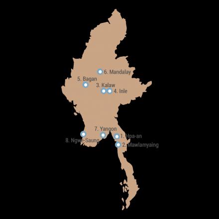 Meine Route durch Myanmar